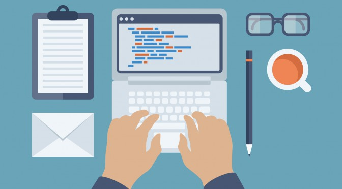 Flat design style modern vector illustration concept of programmer or coder workflow for website coding and html programming of web application. Isolated on stylish colored background.