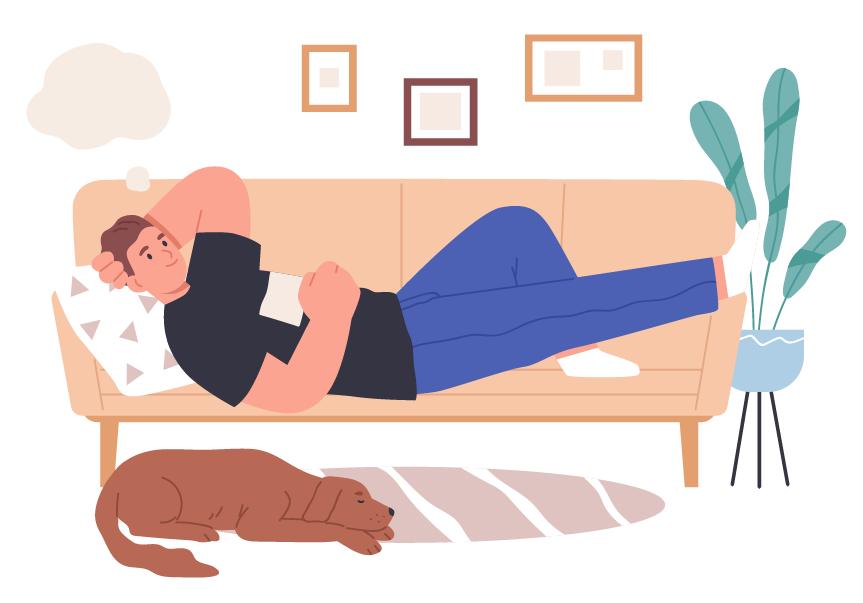 休息がとりたい、眠い人のイラスト