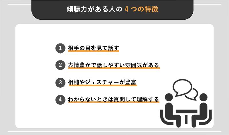 傾聴力がある人の4つの特徴