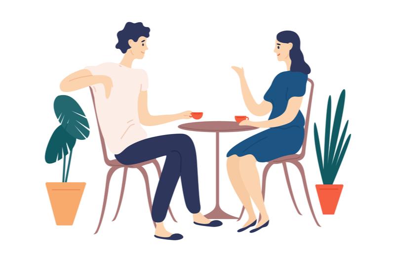 会話を楽しんでいる男女のイメージ