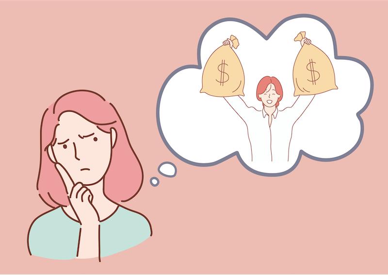 お金のことを考えている女性