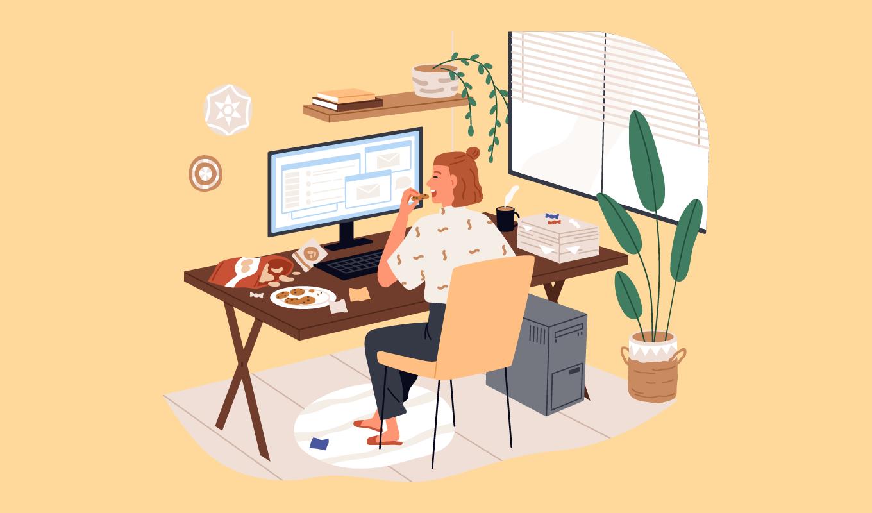 パソコンで作業をしている女性