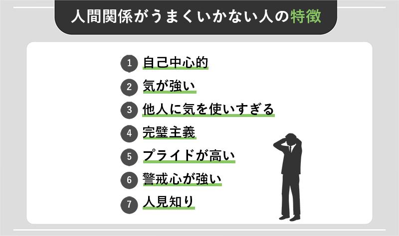 人間関係がうまくいかない人の特徴7つ