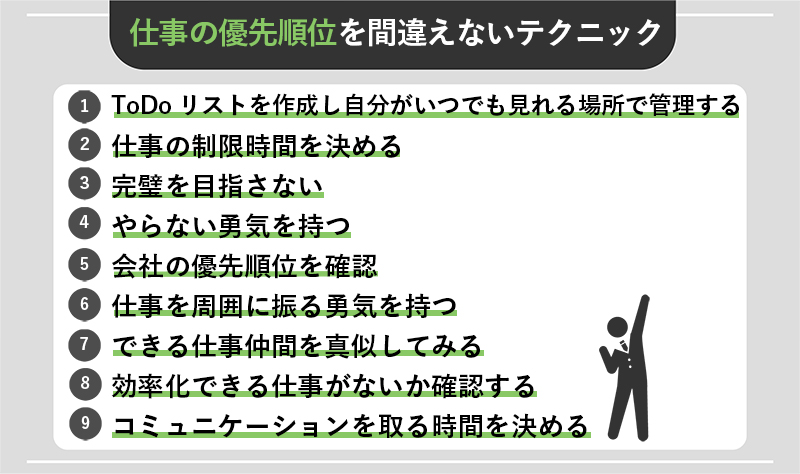 仕事の優先順位を間違えないための効果的な9つのテクニック