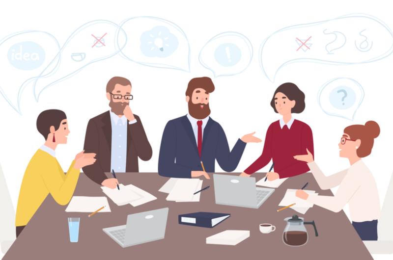 仕事でミーティングをしている人々のイメージ