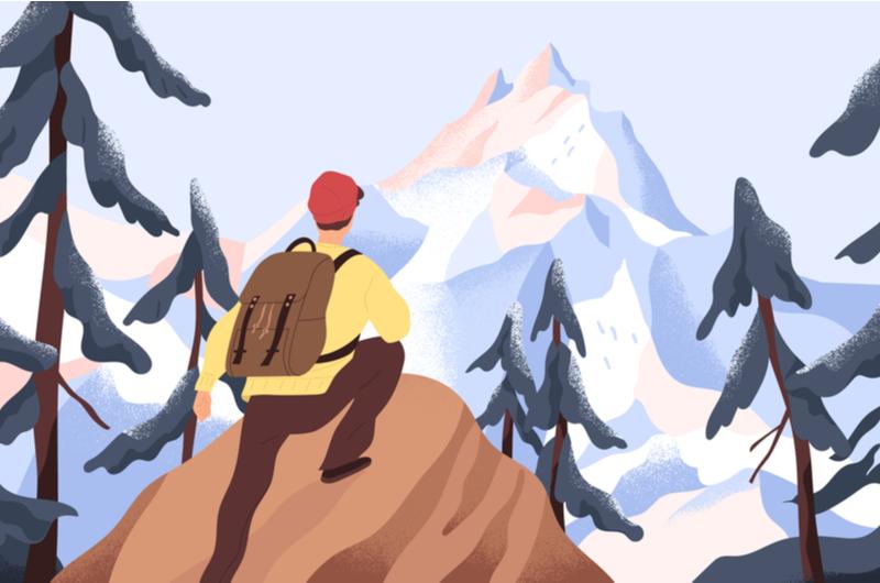 登山をする大学生のイメージ