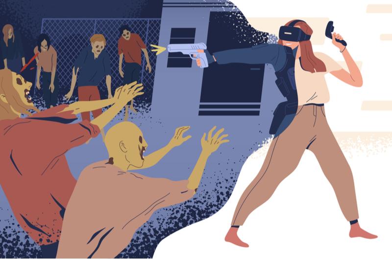 VRのサバイバルゲームで遊ぶ大学生のイメージ