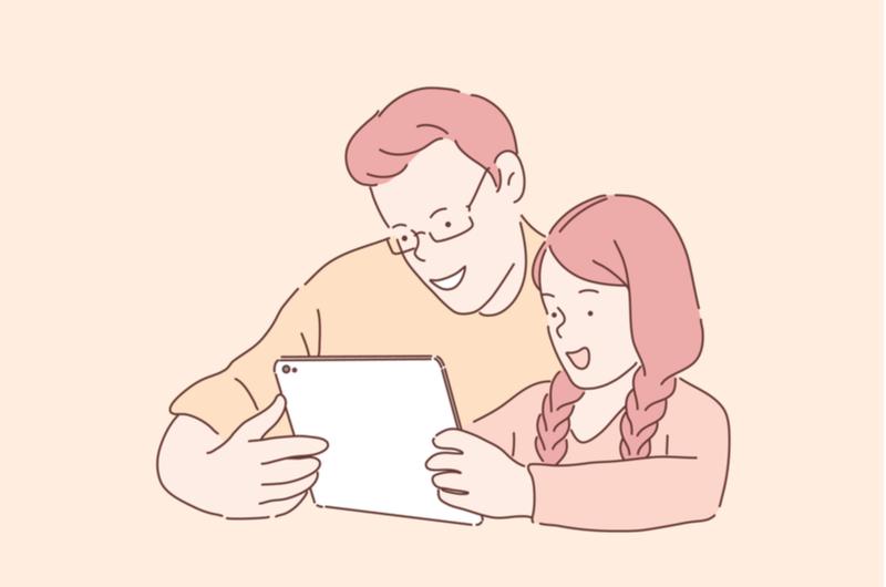 ゲームをする親子のイメージ