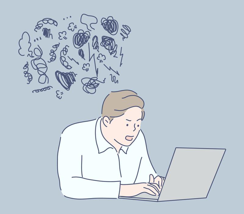 Pythonのデメリットにぶつかっている人のイメージ