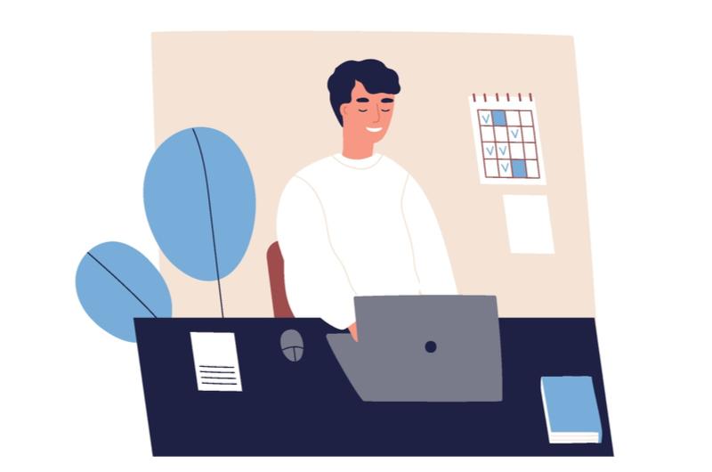 エクセルでプログラミングをしている人のイメージ