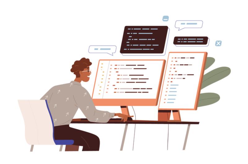 IDEとフレームワークの違いを調べる男性