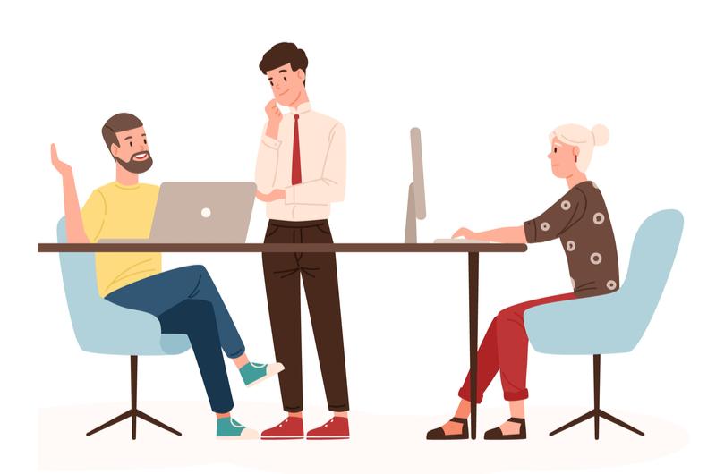 会話をするIT業界の人々