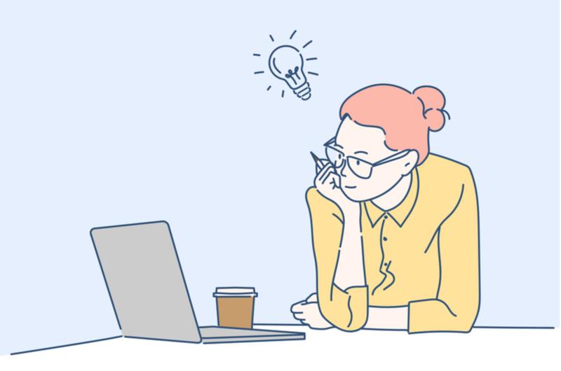 IDEについて調べる女性