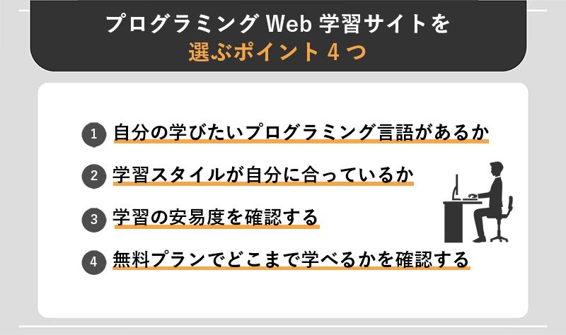 プログラミングWeb学習サイトを選ぶポイント4つ