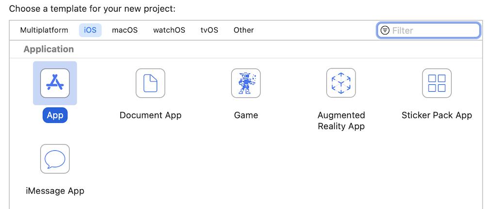 Xcodeでアプリケーションを選ぶ流れ