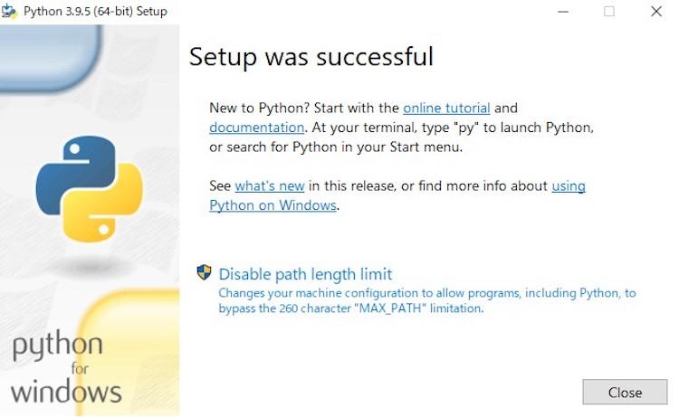 Pythonのインストールが完了