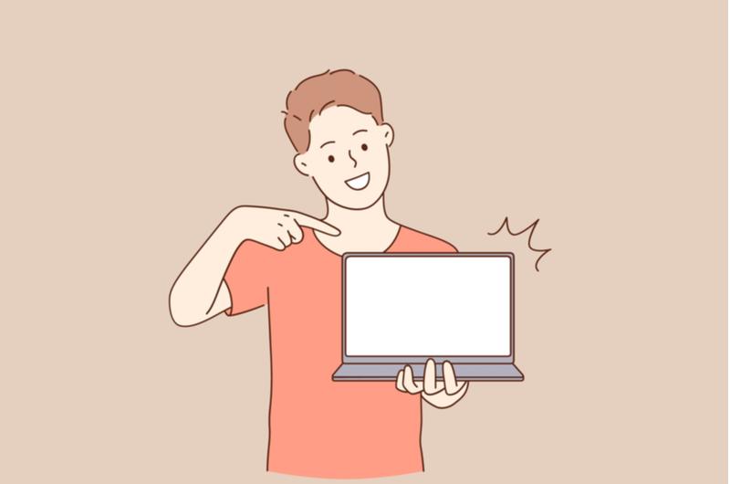 パソコンを指差す人